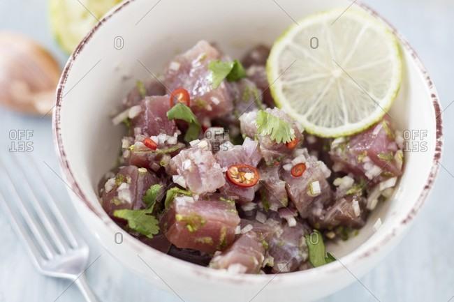 Tuna fish ceviche with chilli peppers