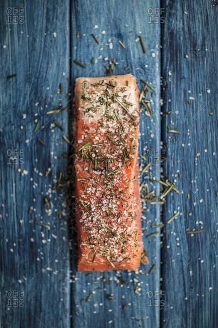 Smoked salmon with spices and rosemary