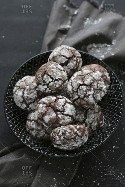Gluten-free hazelnut and chocolate biscuits with icing