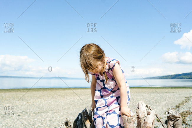 Young girl climbing on driftwood on a beach