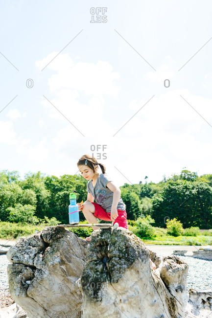 Young girl playing on top of driftwood on a beach in Seattle