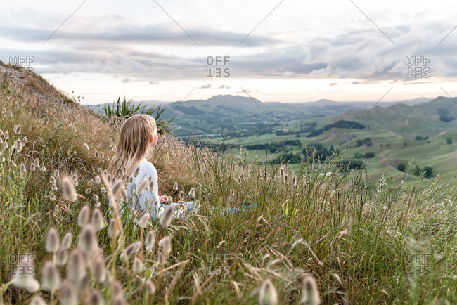 Girl looking out over Te Mata Peak in New Zealand