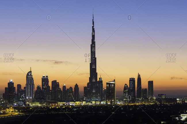 December 7, 2014: Elevated view of the new Dubai skyline, the Burj Khalifa, modern architecture and skyscrapers on Sheikh Zayed Road, Dubai, United Arab Emirates, Middle East