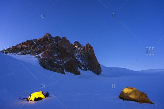 Col du Midi on Mont Blanc, Chamonix, Rhone Alps, Haute Savoie, France, Europe
