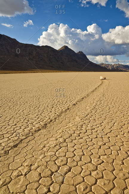 The Grandstand in Racetrack Valley, a dried lake bed known for its sliding rocks on the Racetrack Playa, Death Valley National Park, California, United States of America, North America