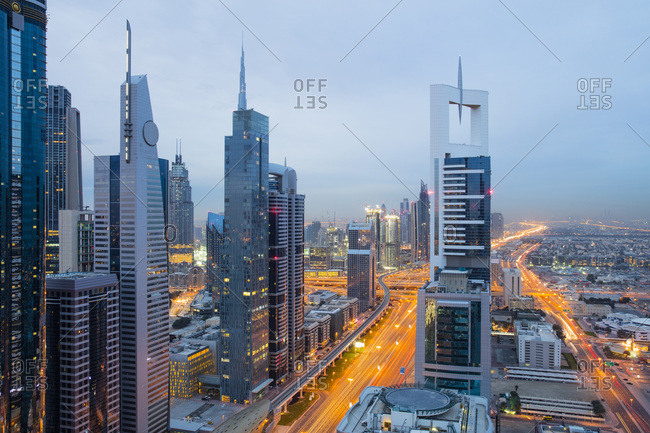 Dubai skyline, Dubai, United Arab Emirates, Middle East