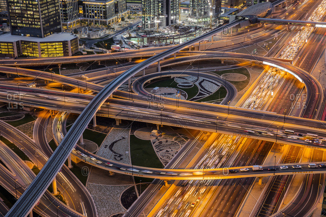 Road Intersection, Dubai, United Arab Emirates, Middle East