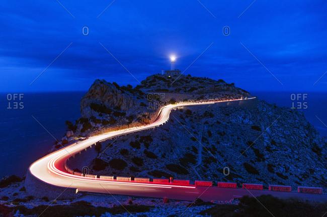 Car light trails, Cap Formentor lighthouse, Majorca, Balearic Islands, Spain, Mediterranean, Europe