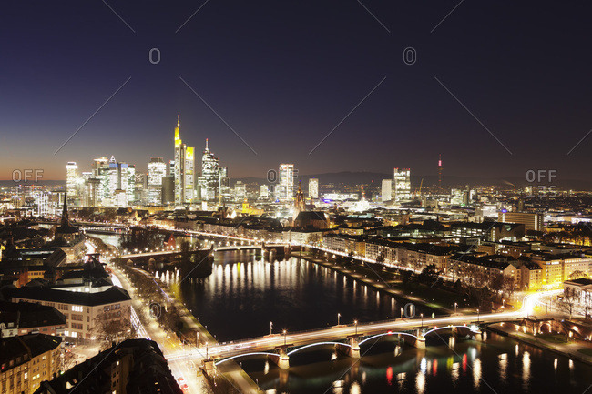 November 29, 2016: View over Main River to Ignatz Bubis Bridge financial district skyline, Frankfurt, Hesse, Germany, Europe