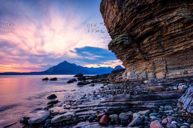 Sunset at Honeycomb Rock, Elgol, Isle of Skye, Inner Hebrides, Scotland, United Kingdom, Europe
