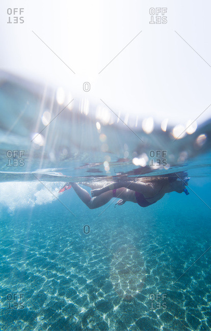 June 3, 2012: Snorkelling on the little Maltese island of Gozo, Malta, Mediterranean, Europe