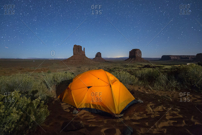 Tent in Monument Valley Campground at night, Monument Valley, Navajo Tribal Park, Arizona, United States of America, North America