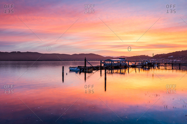 August 23, 2016: Sunset over Knysna Lagoon, Garden Route, Western Cape, South Africa, Africa