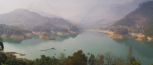 Panorama of Shiqiao Lake of the Wulong Karst geological park, UNESCO World Heritage Site, Wulong county, Chongqing, China, Asia