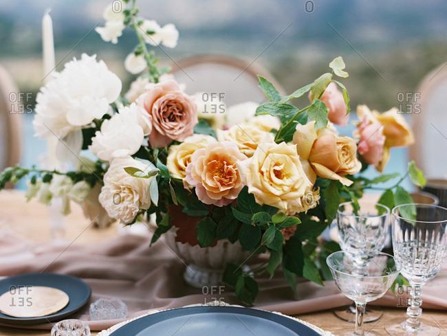 Floral centerpiece at a wedding reception