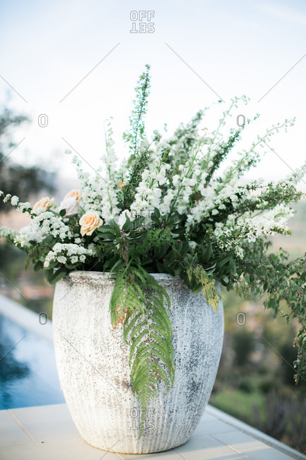 Floral decoration at an outdoor wedding