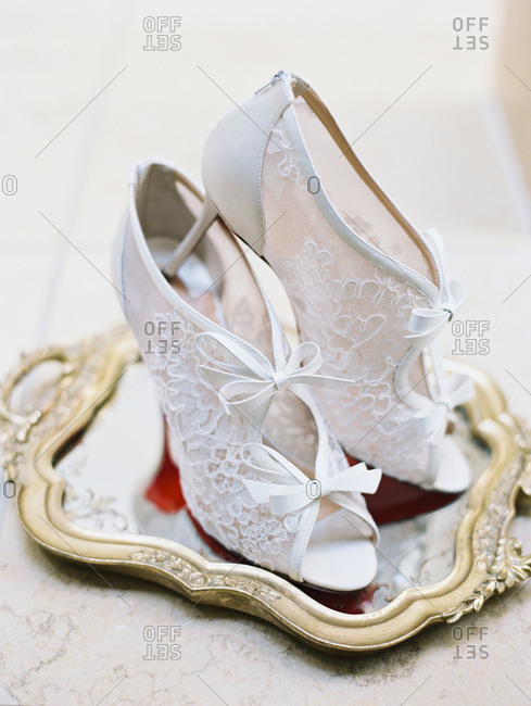 Bride's lacey high heels