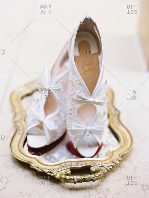 Bride's lacey heels