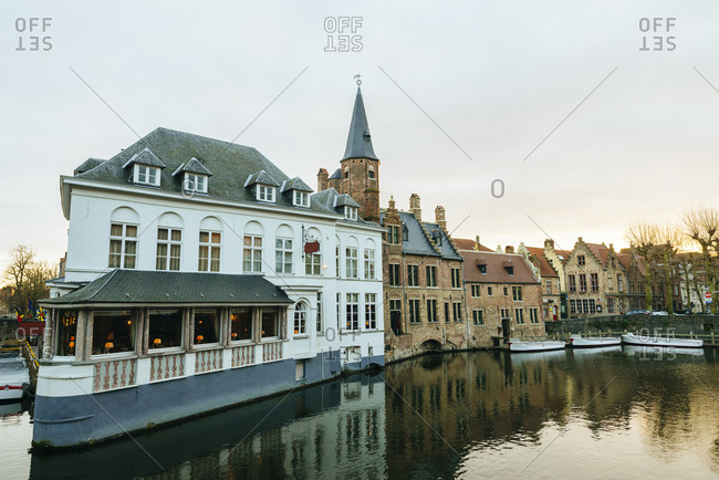 Cityscape of Bruges at dawn, in Belgium