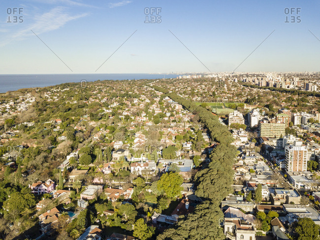Aerial view of neighborhood in Buenos Aires, Argentina