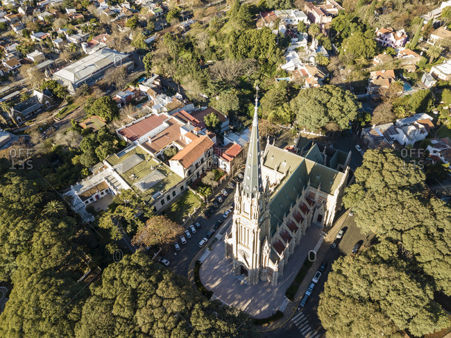 Aerial view of San Isidro Cathedral in Buenos Aires, Argentina