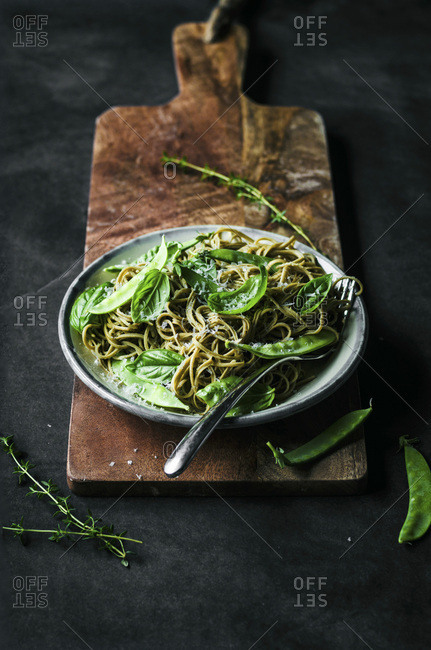 Gluten free spaghetti with snap peas, basil, and thyme.