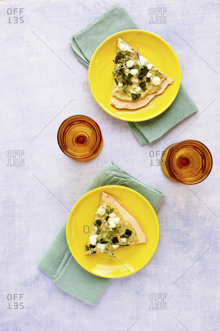 Red Lentil Flatbread with Roasted Poblano Tomatillo Pesto