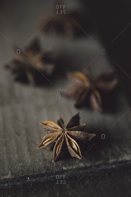Star anise on wood, close-up