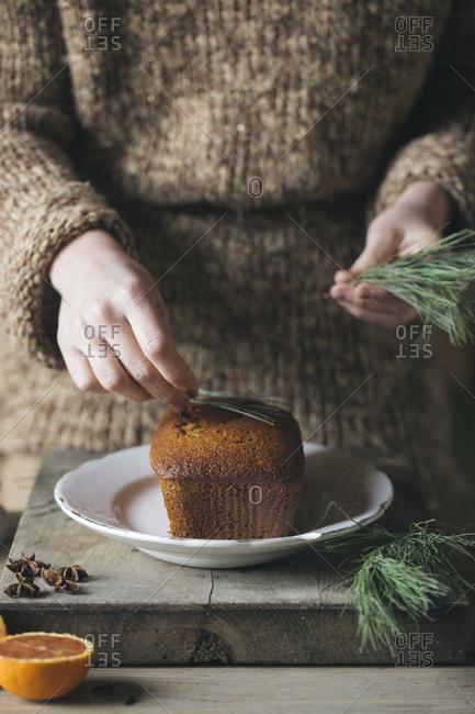 Woman's hand decorating Christmas cake