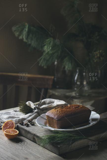 Home-baked Christmas cake on plate