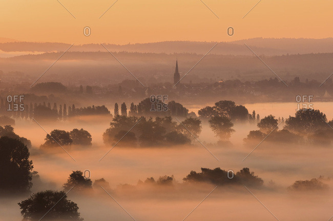 Germany, Constance district, Radolfzell and morning fog over Aachried
