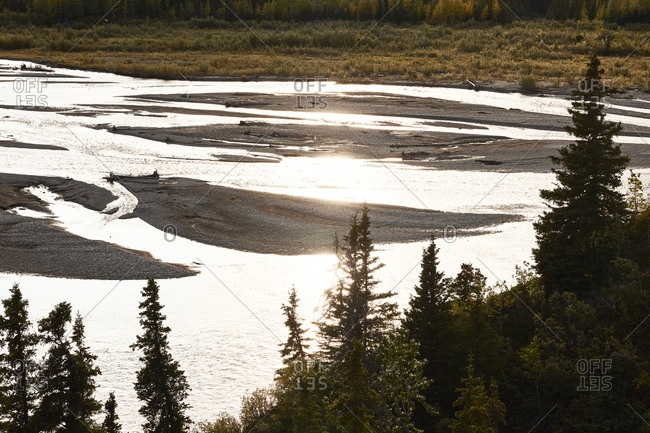 USA, Alaska, Denali National Park, river in backlight