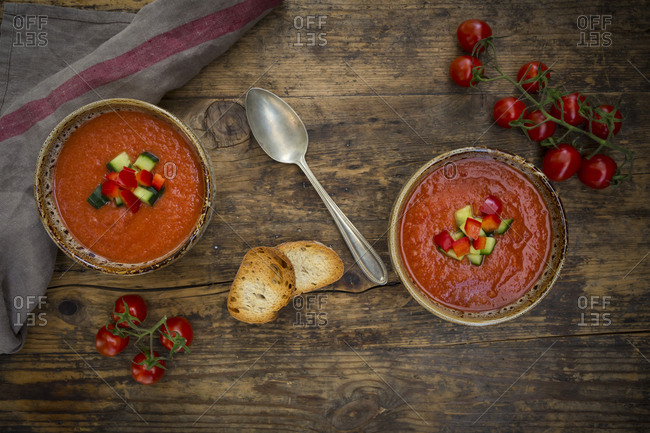 Gazpacho with cucumber and paprika topping