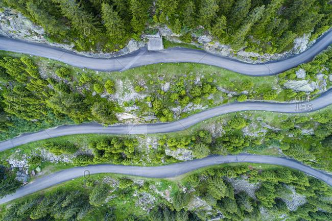 Switzerland, Canton of Uri, Goeschenen, Goescheneralp, Aerial view of mountain pass