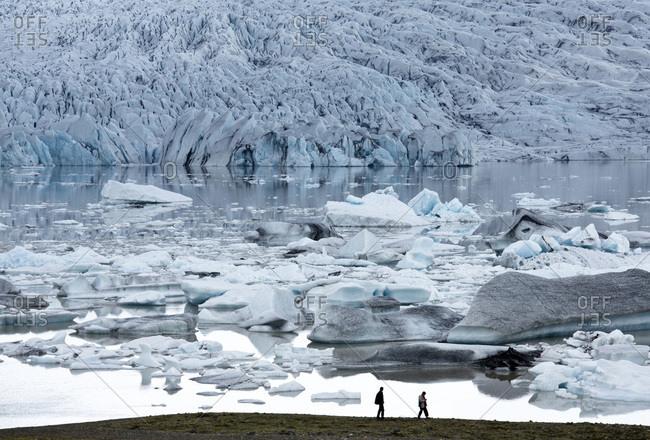 May 29, 2013: Looking towards Fjallsarlon, a glacial lake fed by Fjallsjokull at the south end of the Vatnajokull icecap, near Jokulsarlon, South Iceland, Iceland, Polar Regions