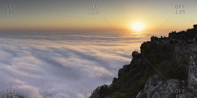 July 7, 2017: View of sunset from Table Mountain, Cape Town, Western Cape, South Africa, Africa