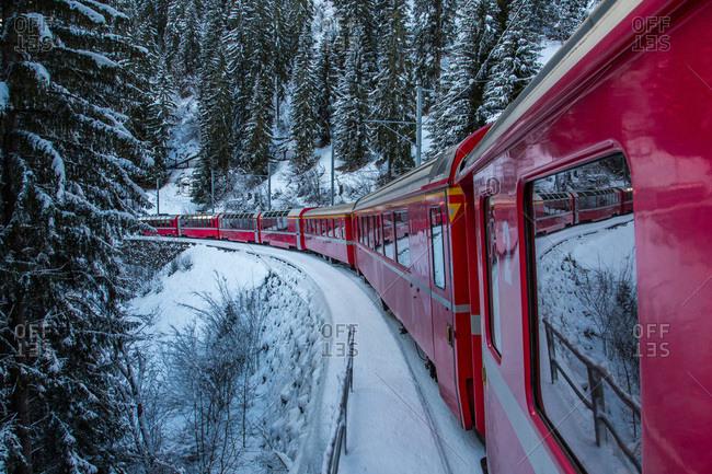 The Albula-Bernina railway, UNESCO World Heritage Site, a link between Switzerland and Italy, Switzerland, Europe