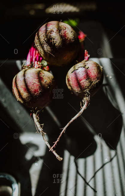 Close up of dirty beets