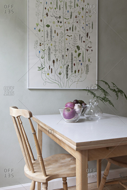 Malmo, Sweden - July 9, 2018: Interior view of table in a designer's home