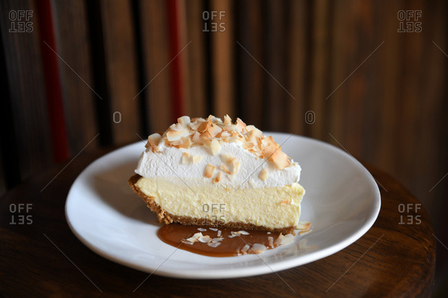 Creamy pie topped with coconut