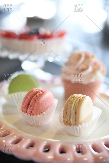 Pastel macarons on pink tray