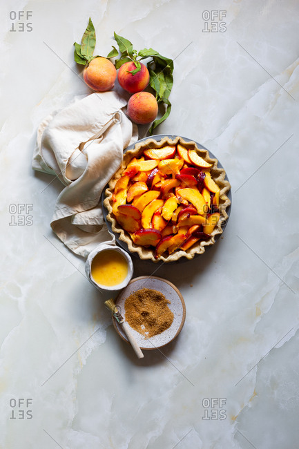 Homemade pie crust with peach filling