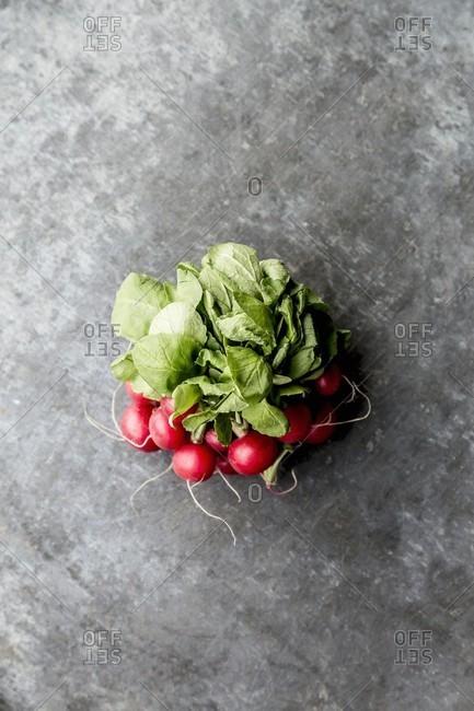 A bundle of radishes on grey surface
