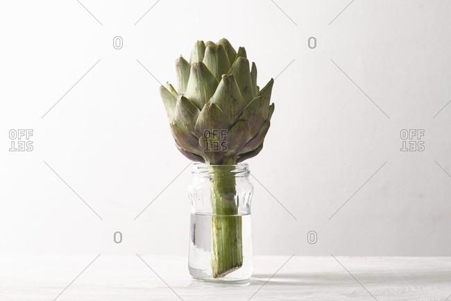 An artichoke in a glass of water