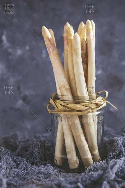 White asparagus in a jar