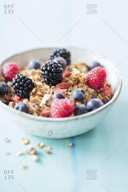 Gluten-free vegan granola muesli with aronia berries and goji berries