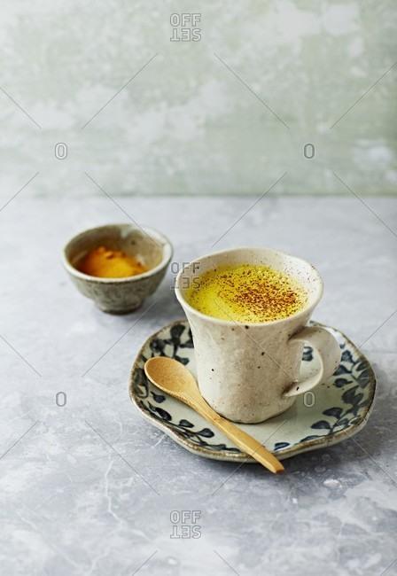 Vegan turmeric milk with cinnamon