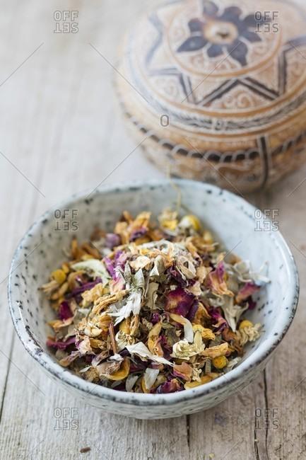 Lebanese floral tea: a tea mixture in a bowl