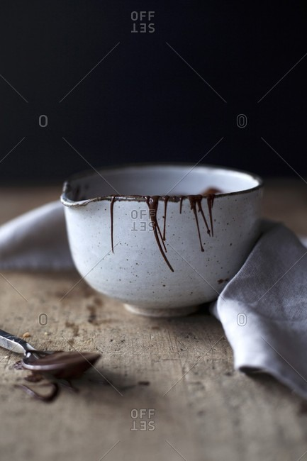 Melted chocolate in a ceramic bowl