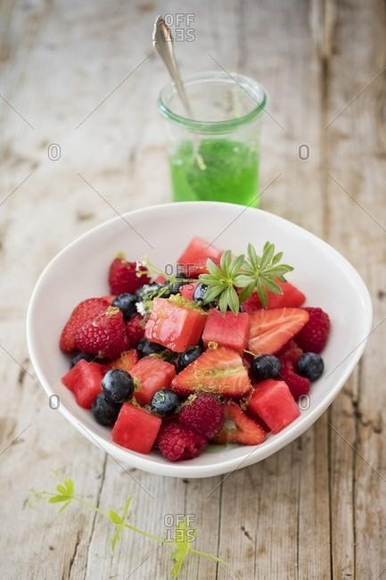 Fruit salad with woodruff syrup